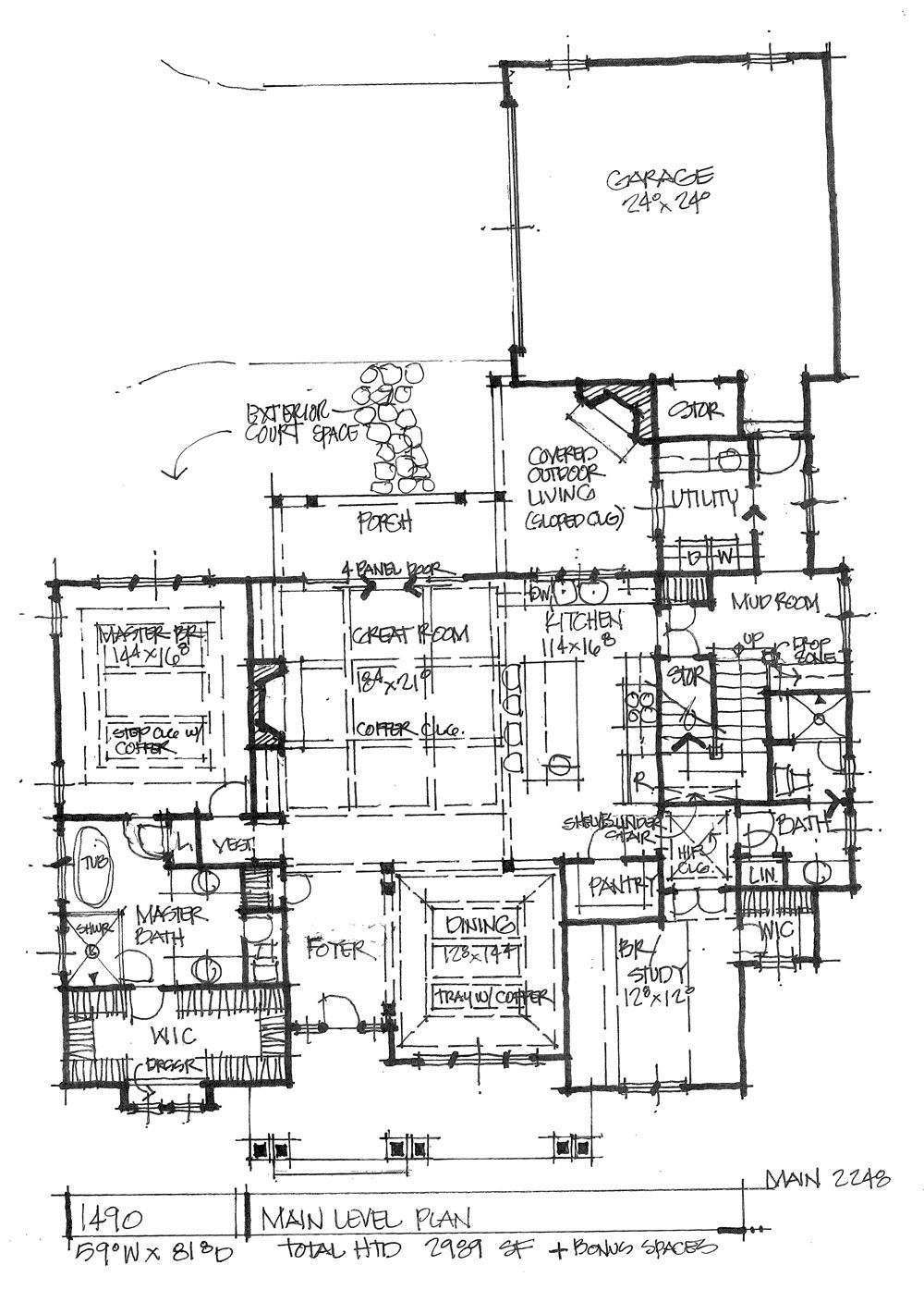 House Plan 1490 Rear Courtyard Garage Garage House Plans Garage Floor Plans Craftsman Floor Plans