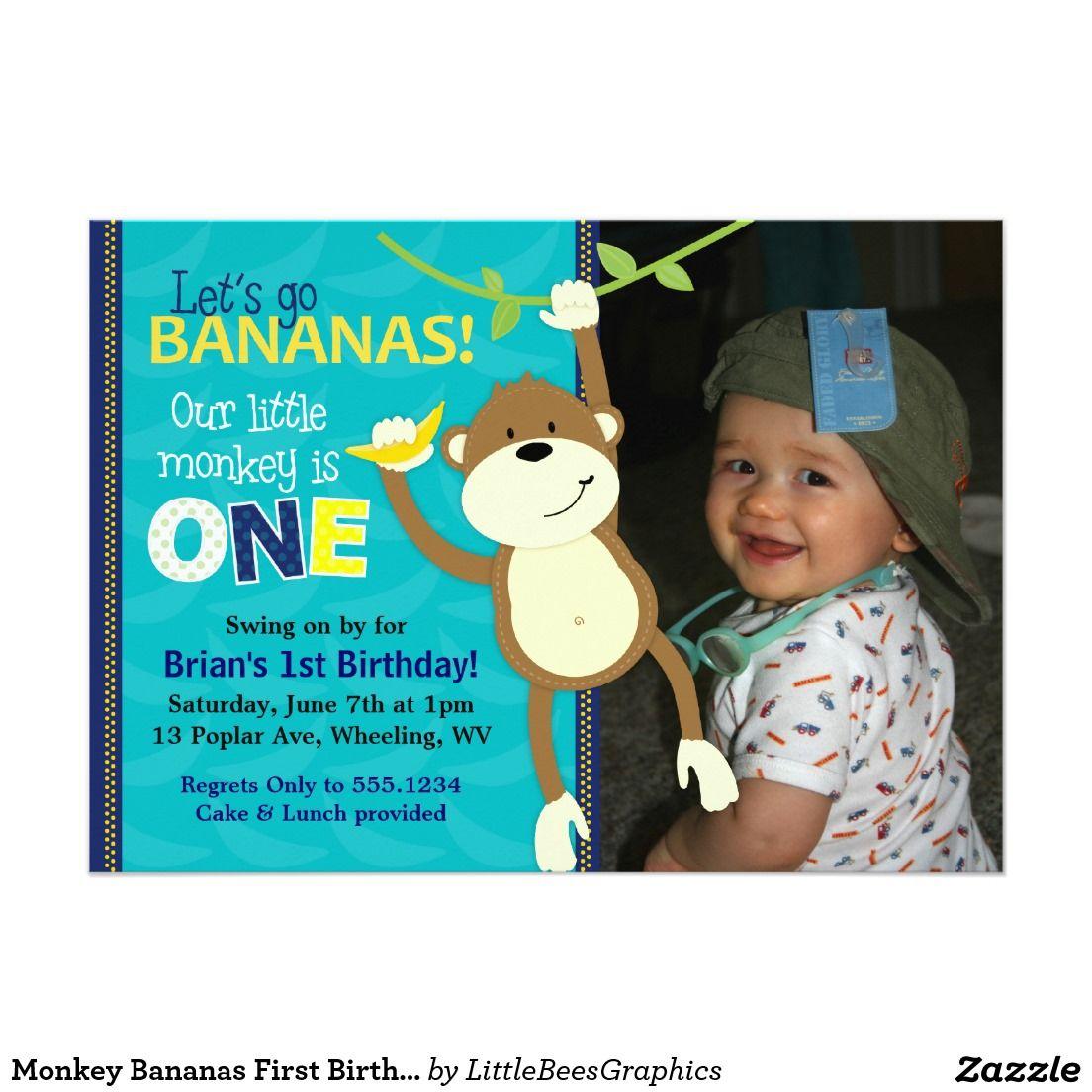 Monkey Bananas First Birthday Photo Invitations | BOYS\' BIRTHDAY ...