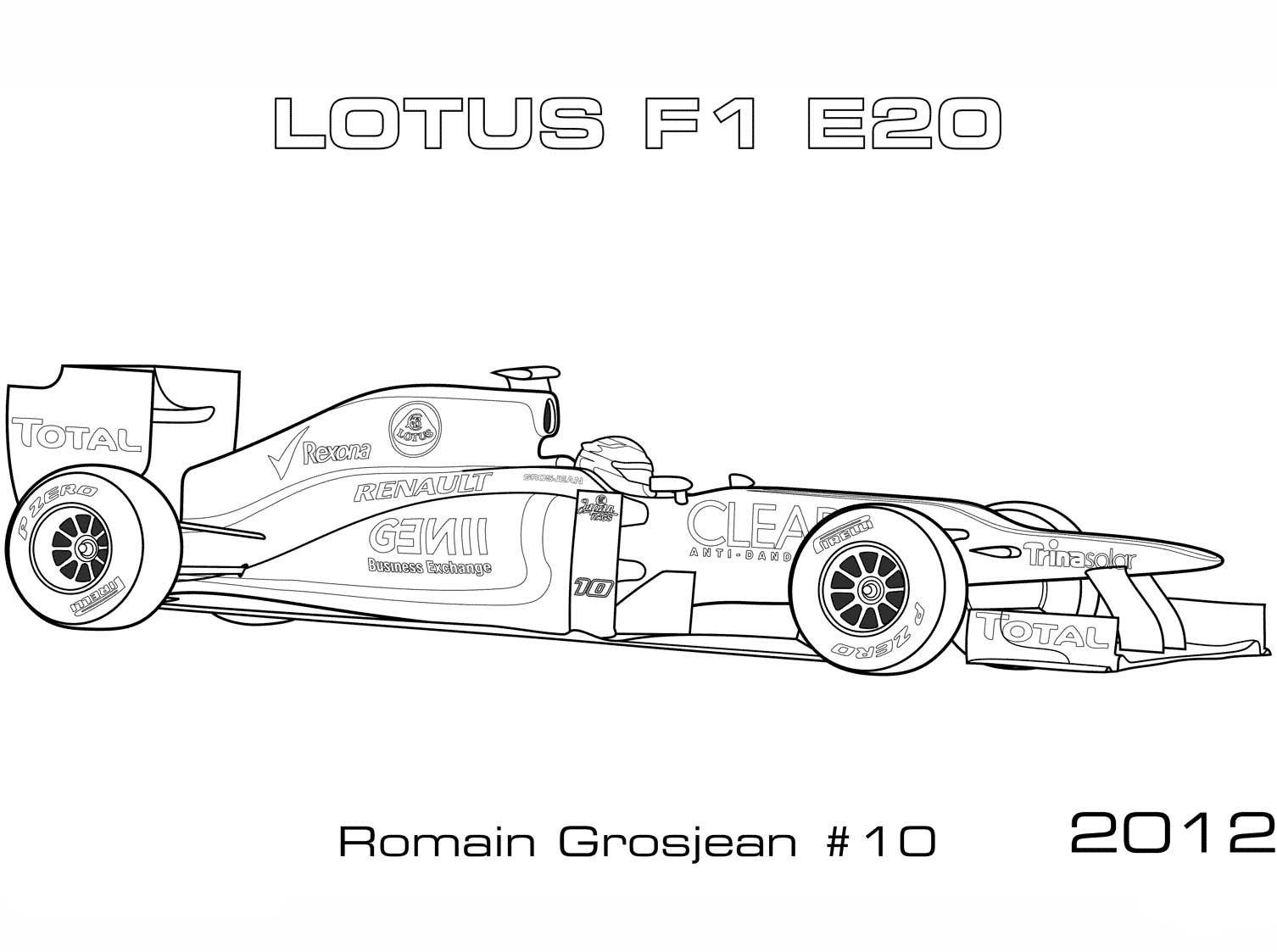Lotus 2012 E20 Formula 1 Car Coloring Page Cars Coloring Pages Sports Coloring Pages Coloring Pages