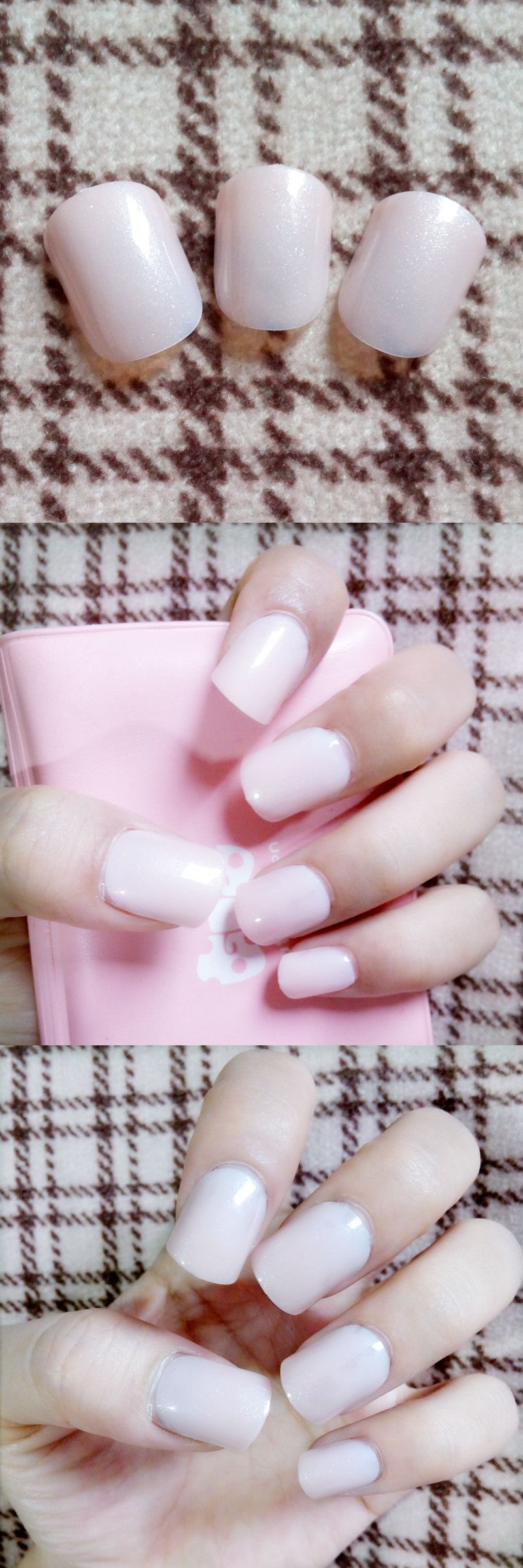 Shine False Nail Tips Glitter Natural Pink Fake Nails Acrylic Nails ...