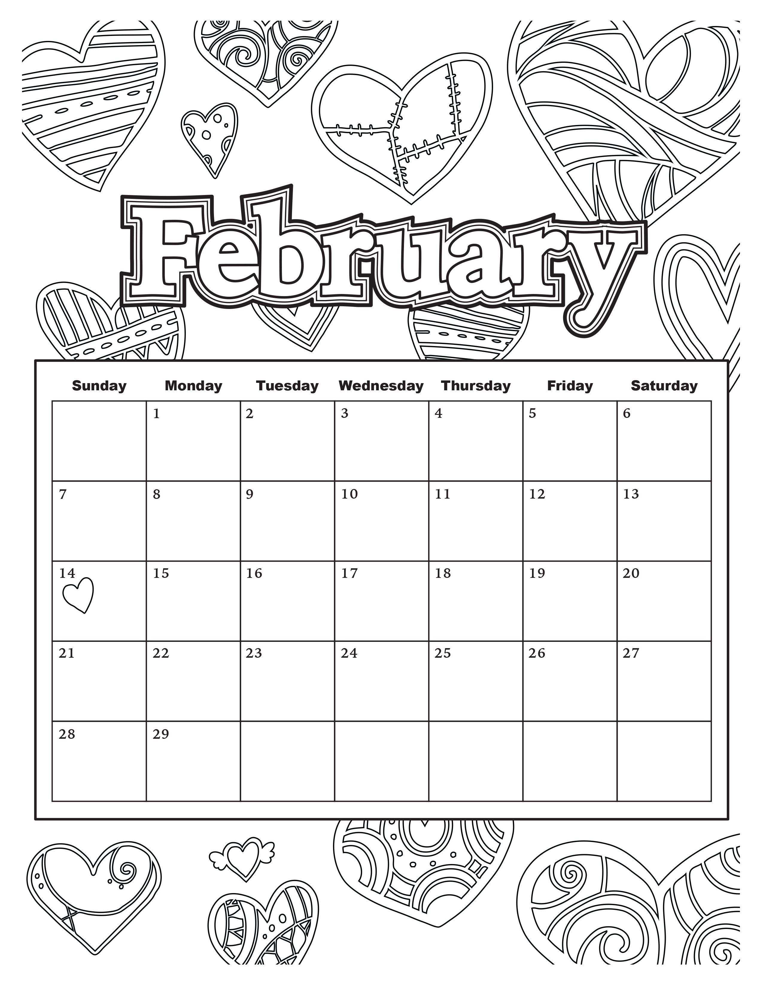 25 Exclusive Image Of February Coloring Pages Kids Calendar