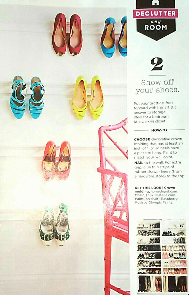 LOVE tis idea to use crown molding on a wall in your closet or bedroom to store and/or display your shoes!