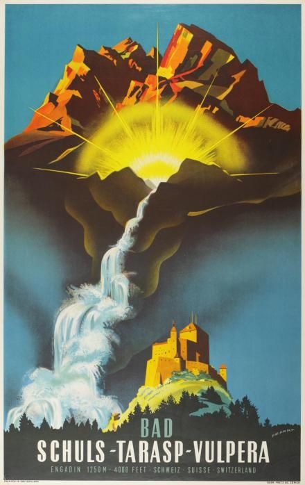 Spectacular vintage 1950s 'Schulz-Tarasp-Vulpera' original travel poster promoting the Engadin valley in Switzerland.    Lithograph in colours printed in circa 1958 by Gebr. Fretz AG, Zurich. Preservation linen-backed.