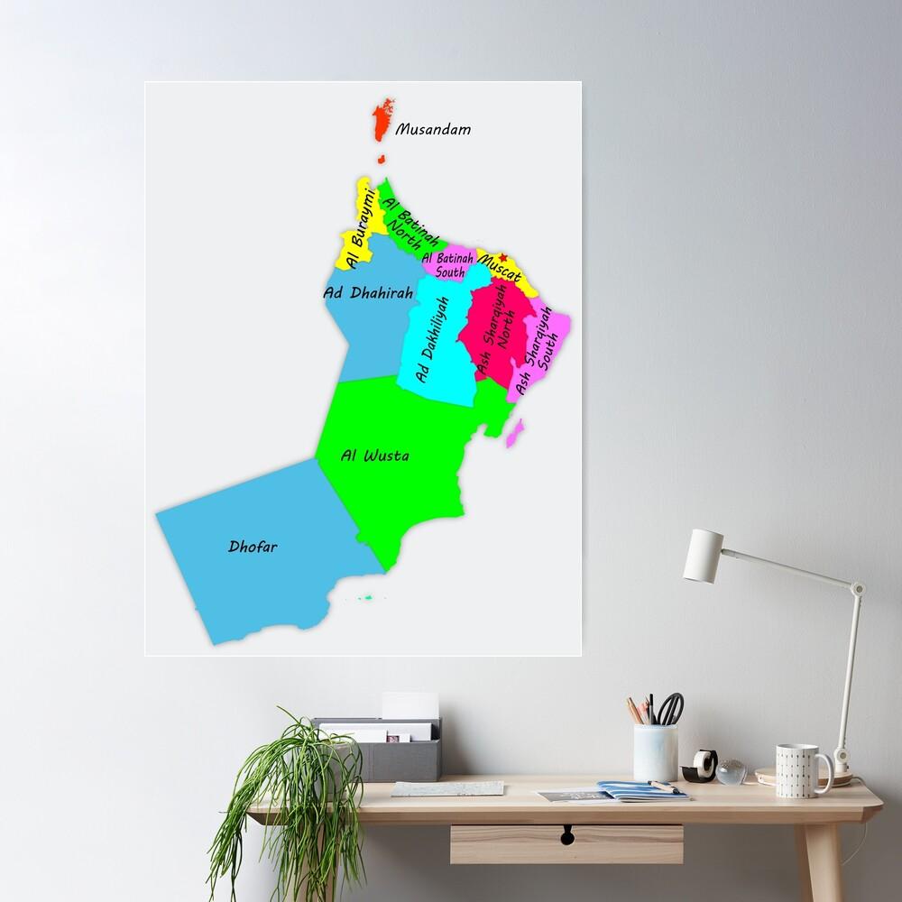 Sultanate Of Oman The Names Of The Provinces And The Capital Muscat خريطة سلطنة عمان اسماء المحافظات وموقع العاصمة Home Decor Decals Sultanate Of Oman Artist