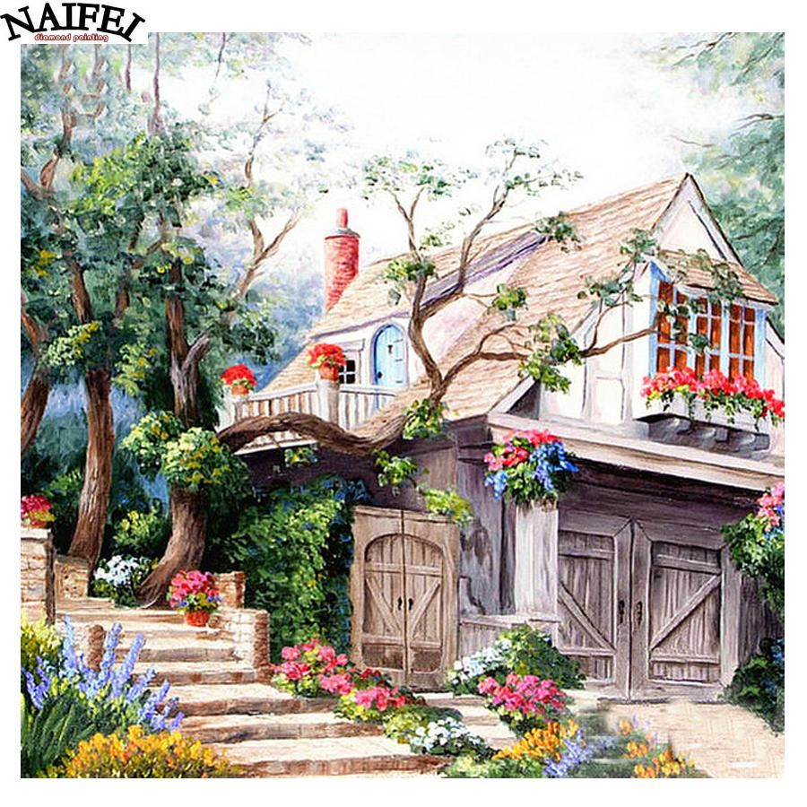 D diamond painting hillside home kit art pinterest paintings