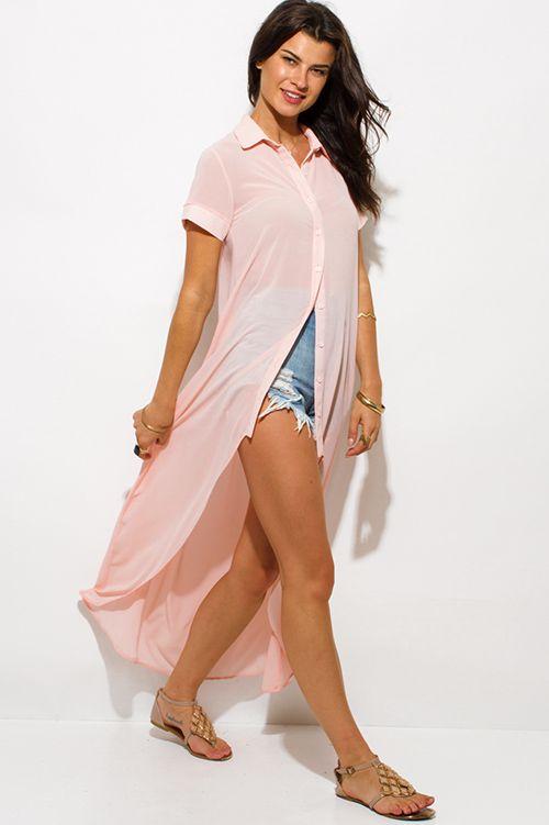 3a35bbd18bb Cute cheap blush pink semi sheer chiffon button up high low hem tunic top  midi dress