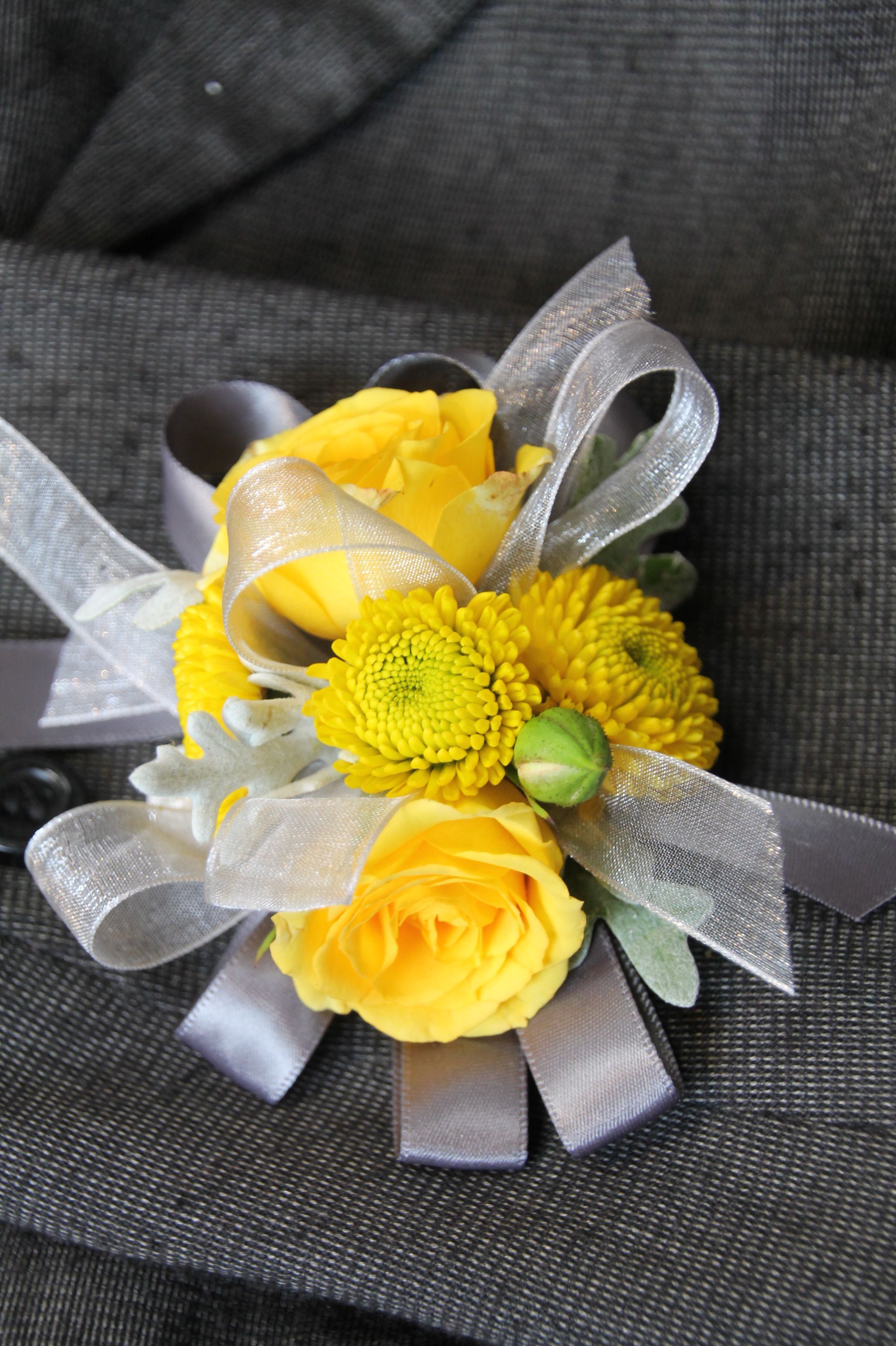 Yellow Button Chrysanthemum Wrist Corsage Corsages Wrist Or Pin