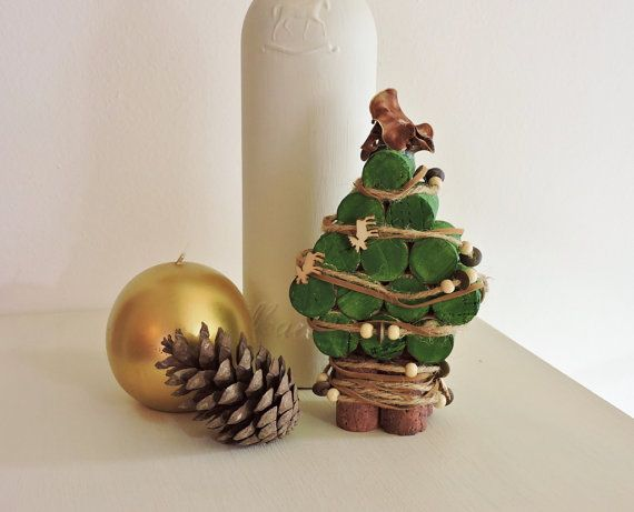 Mini Wine Cork Green and Brown Christmas Tree by CatchMyDreams