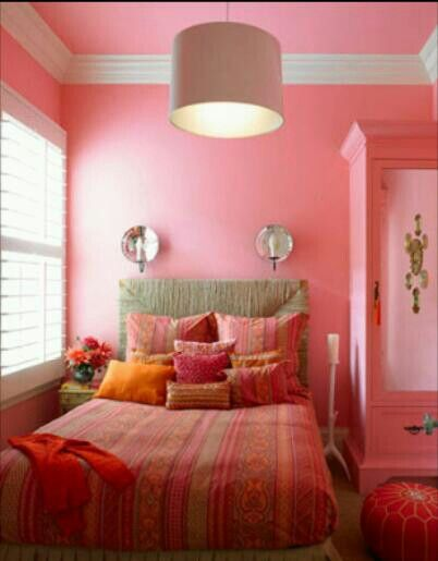 Pink wall with crown molding. | Bedroom Paint and Decor Ideas ...