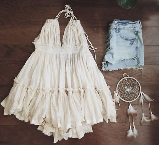 Restock Coming! Sign up below to be notified by email as soon as we restock! Feminine gauzy details adorn this gorgeous dress. Ties around the neck and back with a lace detailed waist and dotted tulle hem. Fully lined. Sure to be your favorite this season.  Color: Cream 100% rayon Imported Hand wash cold Model pics shown for fit.       Small Medium Large     Bust 35 37 39   Waist 34 36 38   Hips 36 38 40   Length 31 32 32    Bust, waist, and hip measurements are a total circumference…
