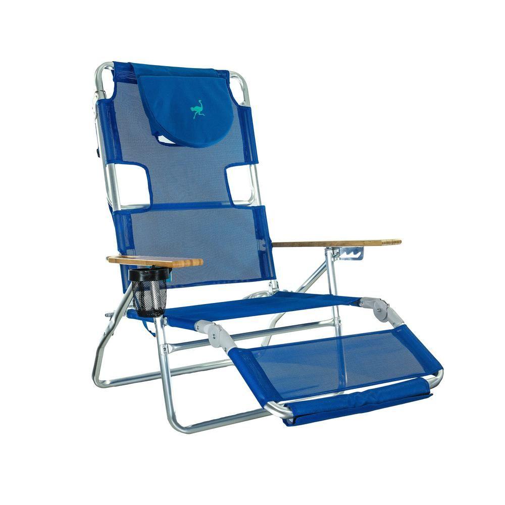 Stupendous Deltess Ostrich 3 In 1 Blue Aluminum Folding Beach Chair Beatyapartments Chair Design Images Beatyapartmentscom