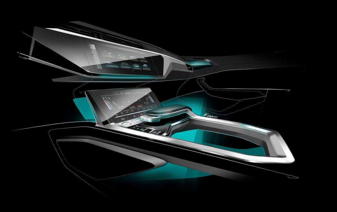 Audi E Tron Skizze Sketch Interior Shifter 2019 2020 New Center Console Car Interior Skizzen