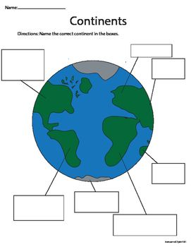 These Are 3 Nice Worksheets To Teach Your Kids About The Seven Continents.  Included: The World Coloring Page Labeling The Continents (color And Black  ...