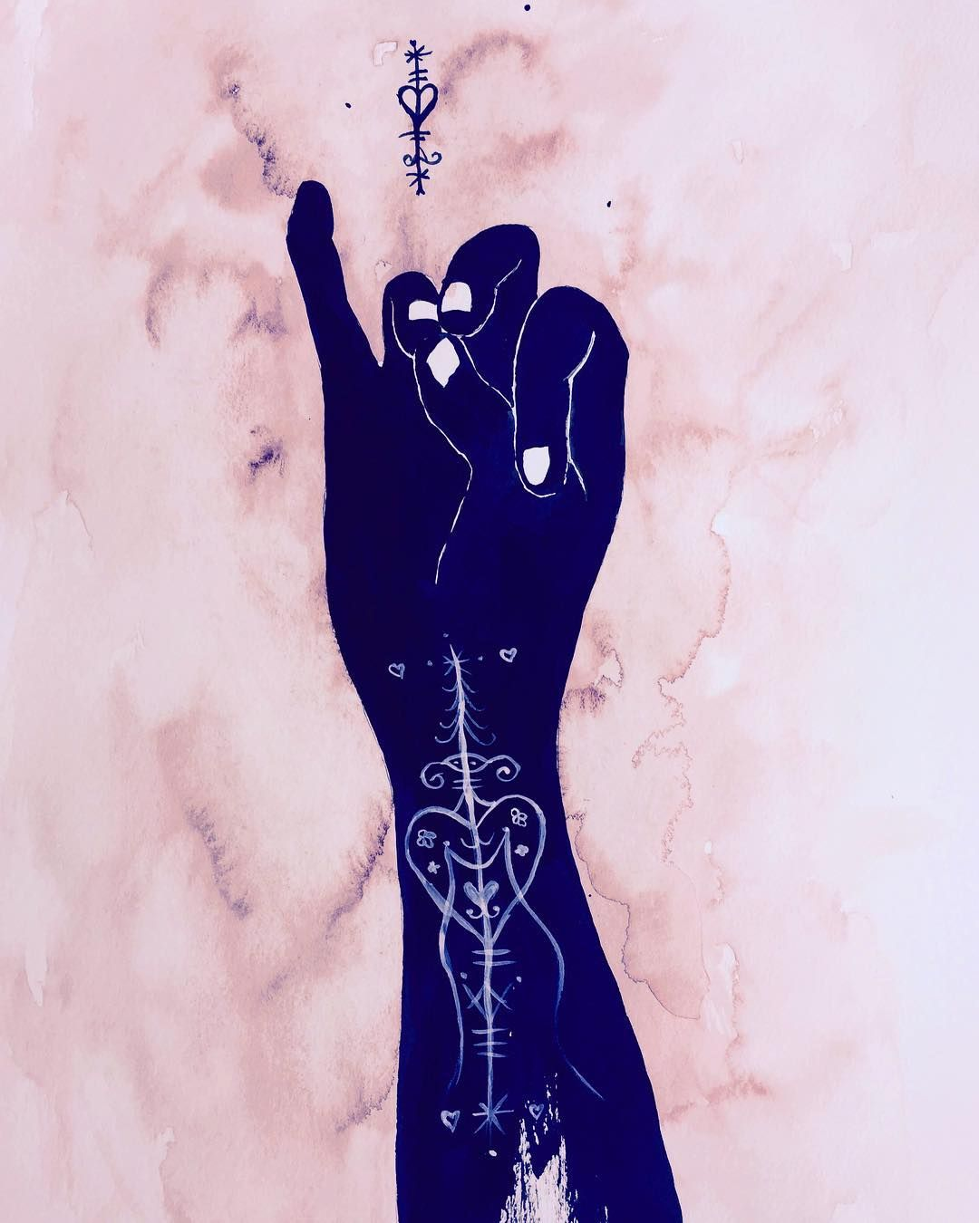 66 of 100mudras heart healing art watercolor ink symbols 66 of heart healing buycottarizona Image collections