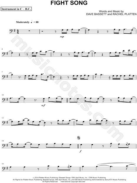 Print and download Fight Song - Bass Clef Instrument sheet music by