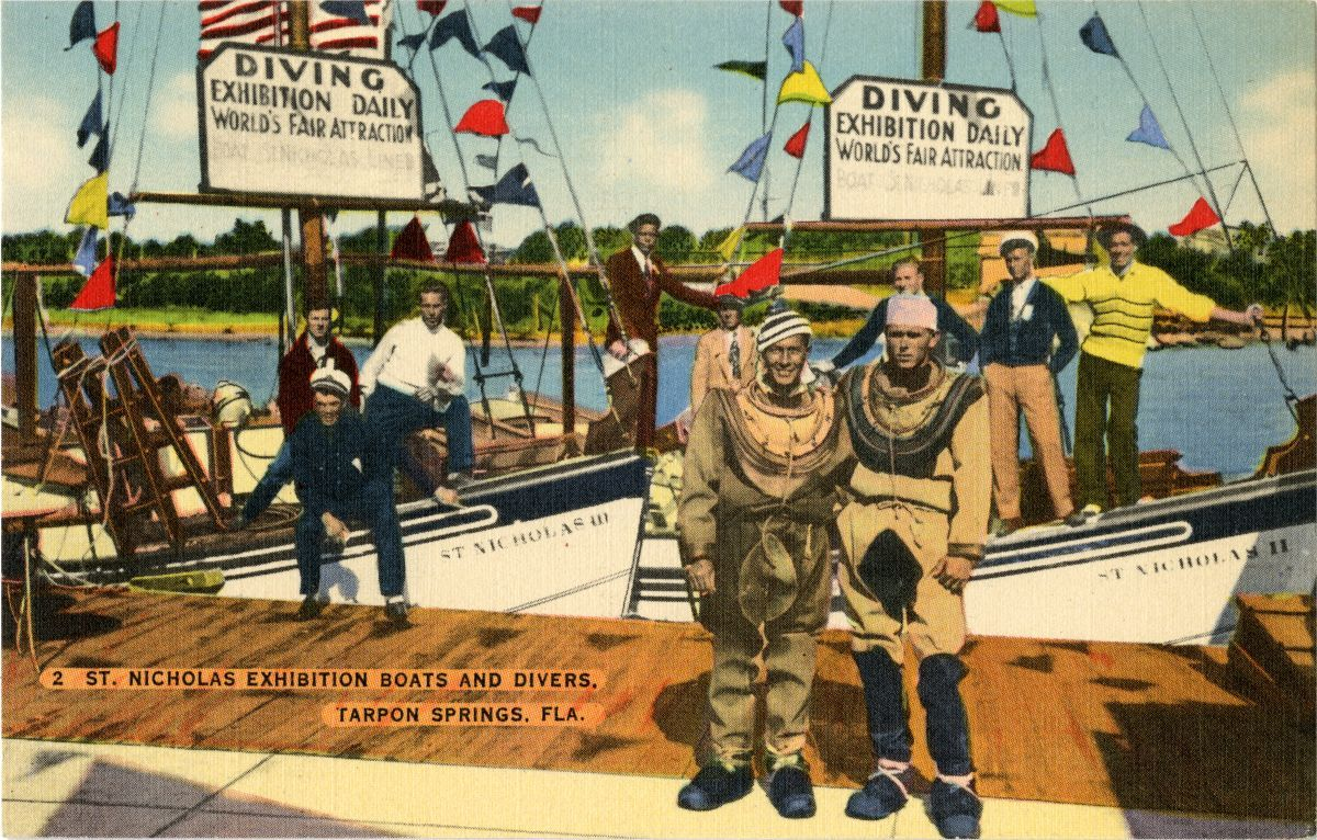 Postcard Of St Nicholas Exhibition Boats And Divers In Tarpon Springs Florida Florida Memory Diving World Tarpon Springs Exhibition