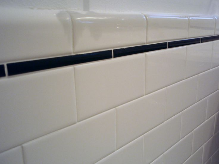 Bullnose Trim Tile for Bathrooms | subway tile with pencil tile trim
