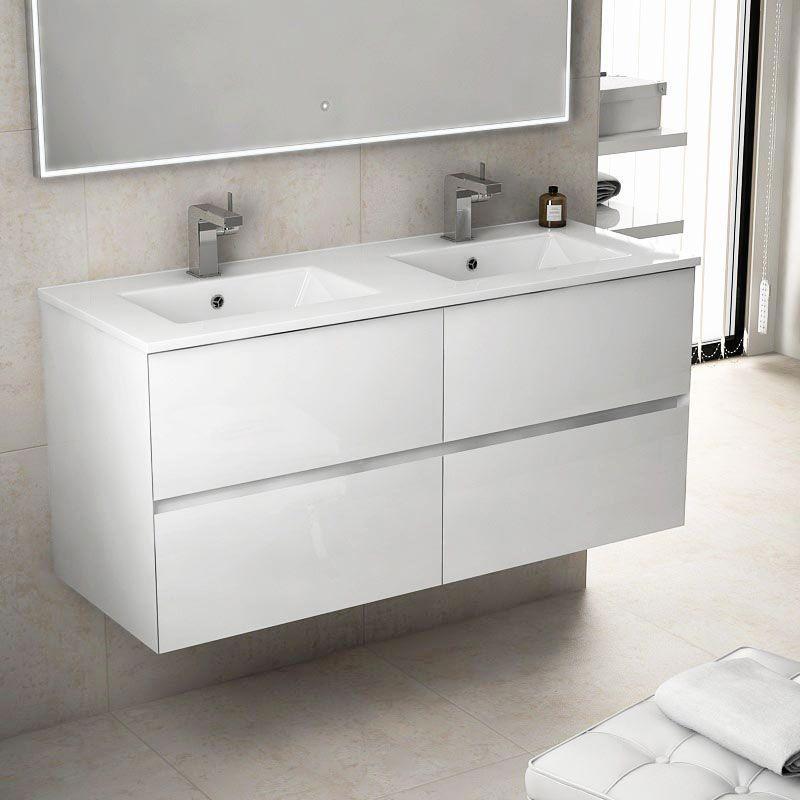 Kyoto L Meuble salle de bain 121 cm blanc brillant double vasque