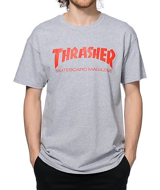 5b48ae8bcf0b Thrasher Skate Mag Grey   Red T-Shirt