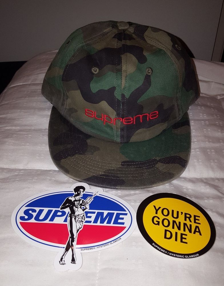 7eca34d2a64 Supreme Woodland Camo 6 panel hat Compact Supreme logo FW 17 IN HAND w   stickers  Supreme  6panelhat