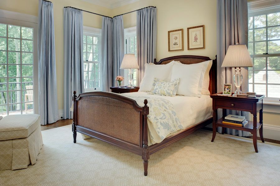 traditional bedroom decor with solid crystal lamps on each side of ...