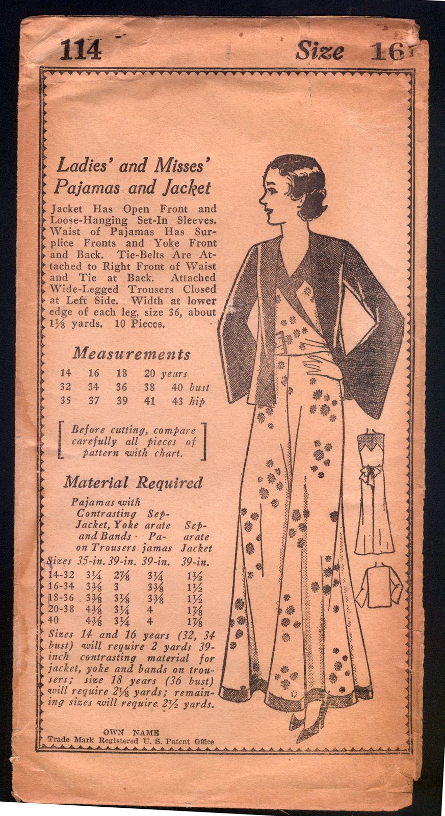 1930 Own Name Pattern Ladies Beach Pajamas with Jacket | eBay ...