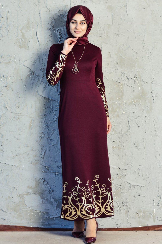 fa34da2d7fd30 Sefamerve Tesettür Baskılı Elbise Modelleri - Moda Tesettür Giyim ...