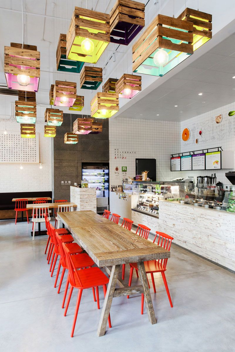 Lighting design idea  wood crates painted on the inside act as shades in this restaurant also rh pinterest