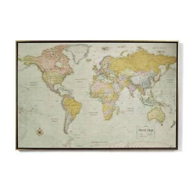 Heirloom Antiqued Linen Map Floating frame, Natural linen and Linens - new world map canvas picture