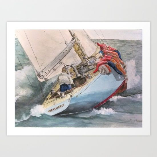 """Buy Going to Weather aboard """"Weatherly"""" 12 US 17  Art Print by DJ Beaulieu. Worldwide shipping available at Society6.com. Just one of millions of high quality products available."""