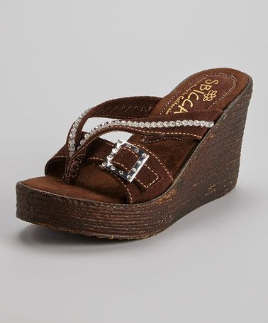 Look at this #zulilyfind! Brown Suede Horizon Wedge Sandal by Sbicca  #zulilyfinds