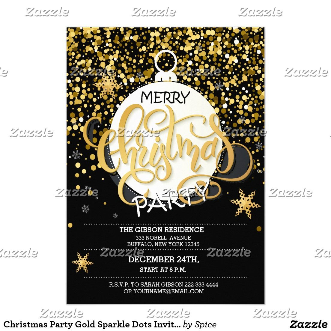 Christmas Party Gold Sparkle Dots Invitations | Corporate,Office ...