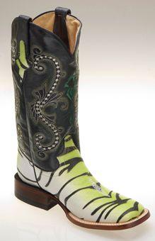 1ce154b20dd Ferrini® Ladies Print Stingray Tiger Western Boots - Lime Green ...