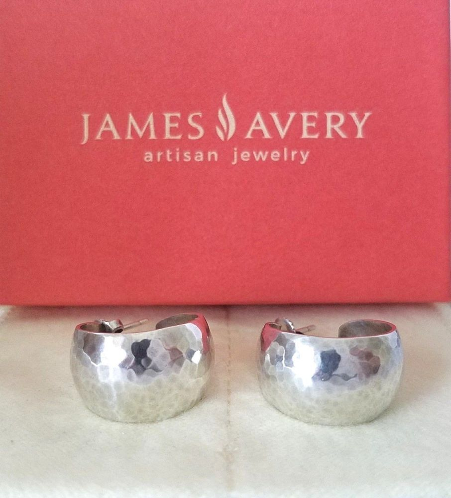 James Avery Retired Sterling Silver Hammered Hoop Earrings Hammered Hoop Earrings Hammered Hoops Hammered Silver