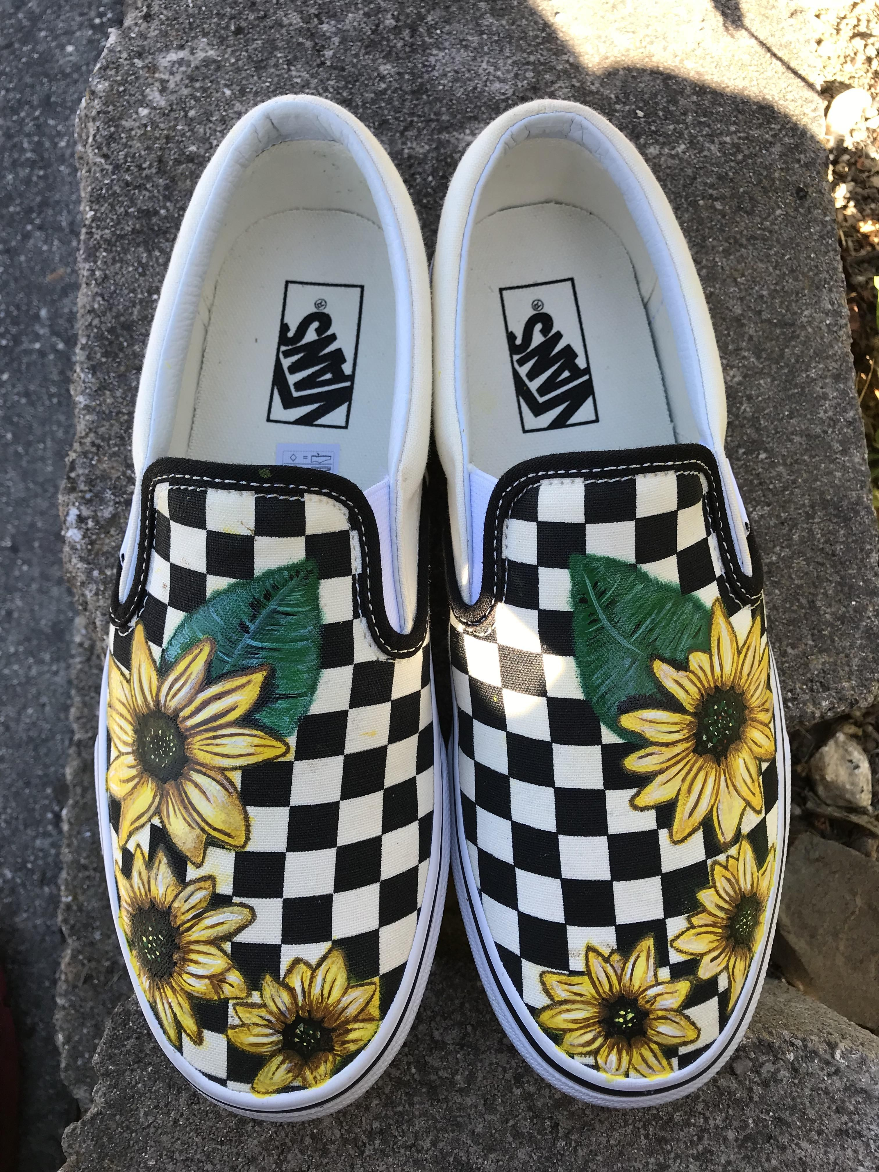Checkered Vans I hand painted for a friend )