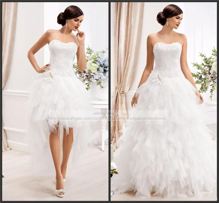 Cheap Two Styles Wedding Dresses Strapless Lace Appliques Bodice Corset Back Gowns Ruffled Tulle Skirt High Low Bridal