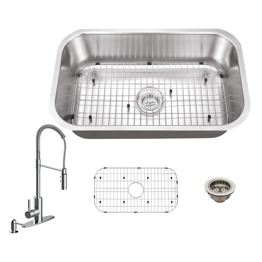 Schon All In One Undermount Stainless Steel 30 In 0 Hole Single Bowl Kitchen Sink With Faucet Sc667550ss Single Bowl Kitchen Sink Stainless Steel Kitchen Pull Out Kitchen Faucet