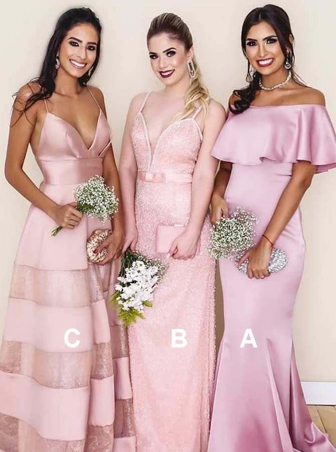 Mermaid Off-the-Shoulder Sweep Train Pink Satin Bridesmaid Dress ...