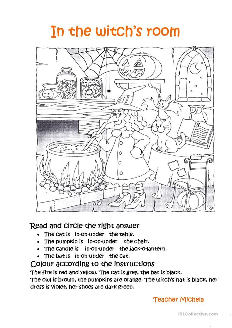 In The Witch S Room Worksheet Free Esl Printable Worksheets Made By Teachers Halloween Worksheets Halloween Activities Witch Room [ 1079 x 763 Pixel ]