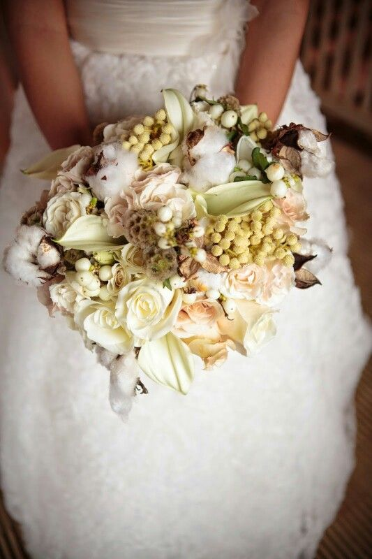 Ivory Roses, White Calla Lilies, Cream Roses, Raw Cotton, Cotton Hulls, Scabiosa Pods, White Snowberry Bride's Bouquet