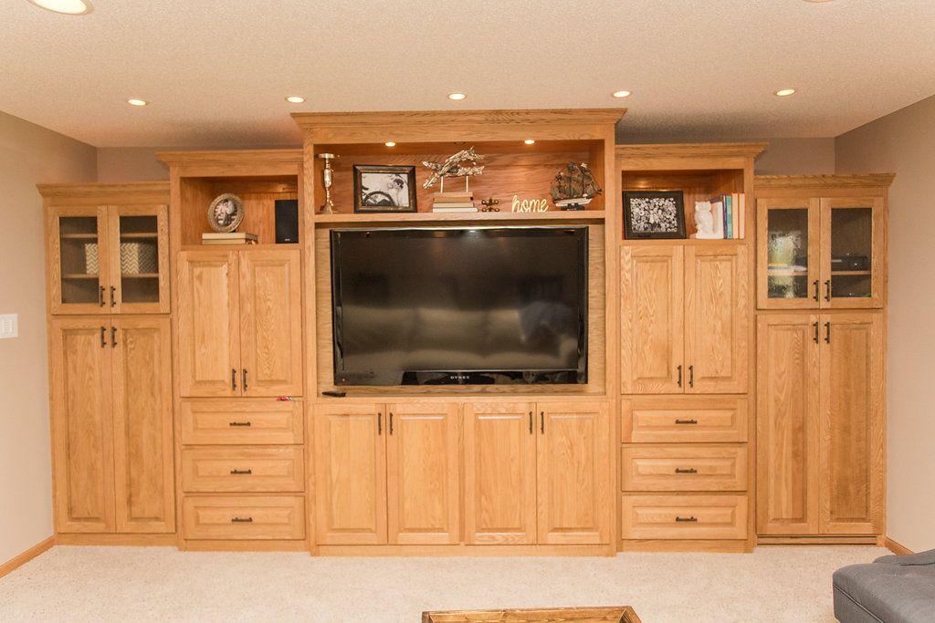 Our Basement Reveal Construction2style Painting Oak Cabinets Oak Cabinets Oak Entertainment Center