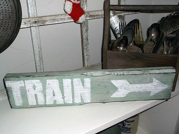 Train Depot Sign with Arrow! All Aboard! Perfect for any train lover ...