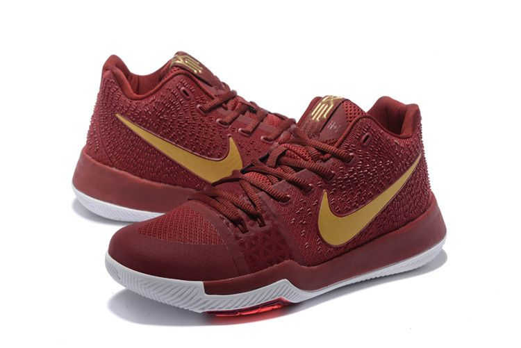 uk availability 86417 95134 Factory Authentic Wine Gold Cavs Kyrie 3 III Shoes 2017