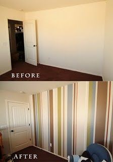 Puppy Nursery Vertical Stripe Wall Tutorial Before And After