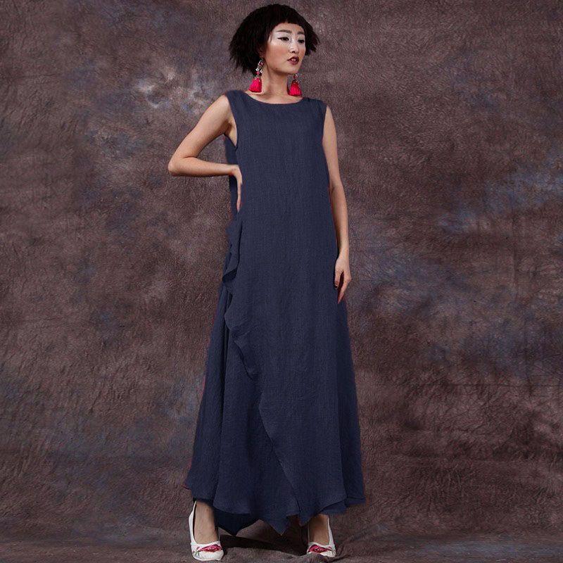 cadbb9e8b1 comprar 9 Colores 2017 Summer ZANZEA Mujeres Retro Maxi Vestido Largo Sin  Mangas Ocasional Floja Vintage