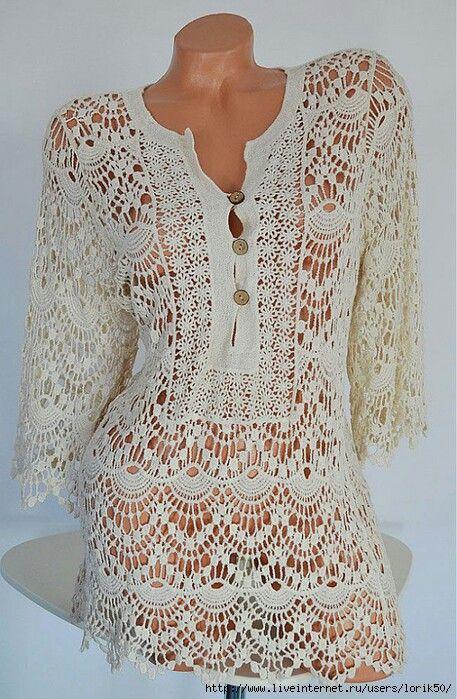 Crochet encaje | crochet | Pinterest | Tuniken, gehäkelte Oberteile ...