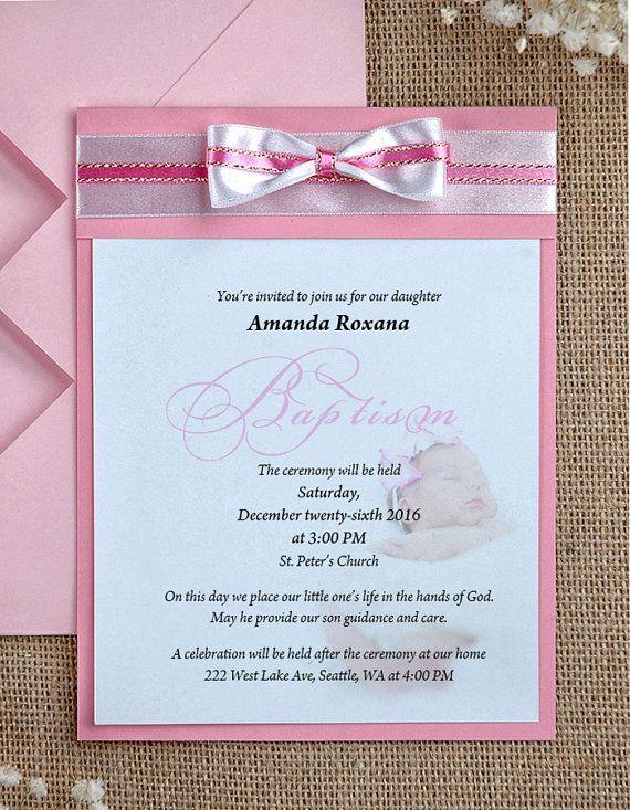 Custom Listing (10) Photo Baby Shower Invitation, Photo Baptism - invitation for baptism girl