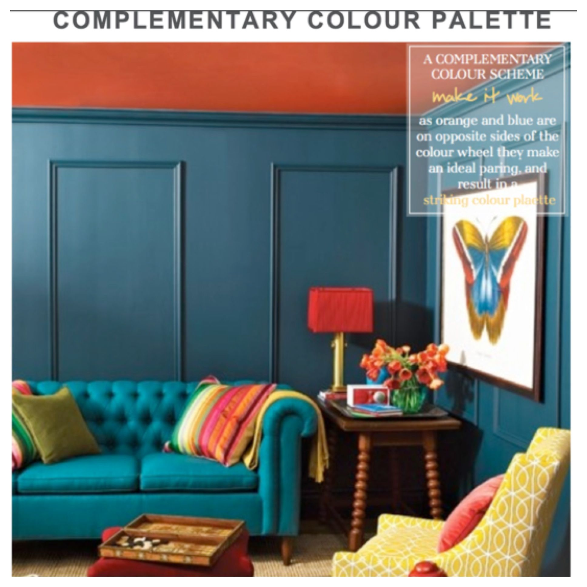 Brightly Colored Living Room; Teal, Coral, Lime