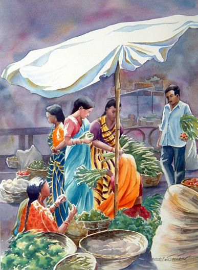 Market Day By Madeline Wikler Indian Art Paintings Watercolor