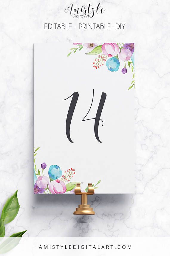 Printable Editable Table Number With Adorable Watercolor Fl Elements By Amistyle Digital Art On Etsy